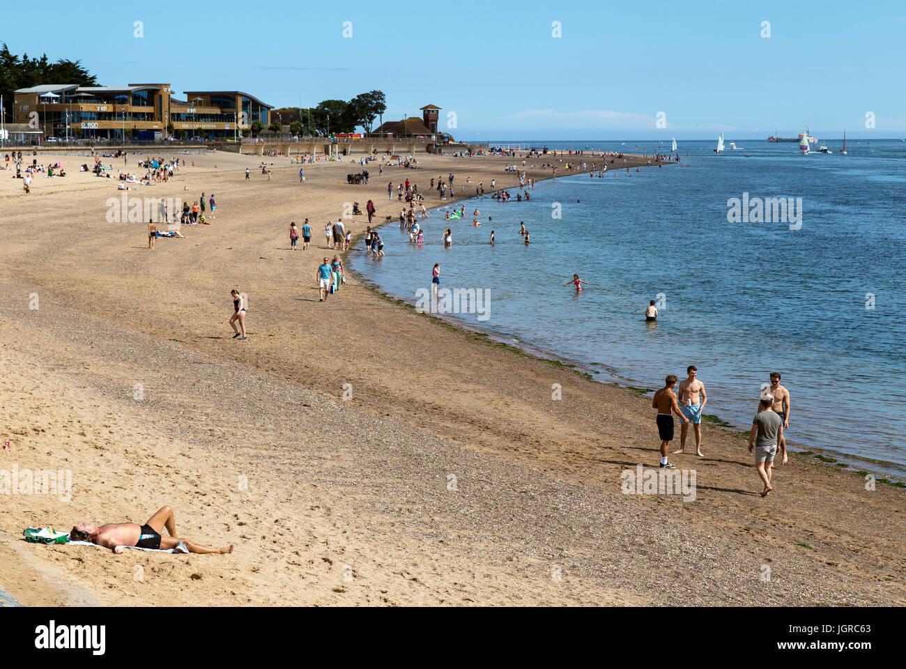 Exmouth beach,background, beach, breakwater, bright, close, coast, coastal, coastline, copy, daytime, decrepit, - Stock Image