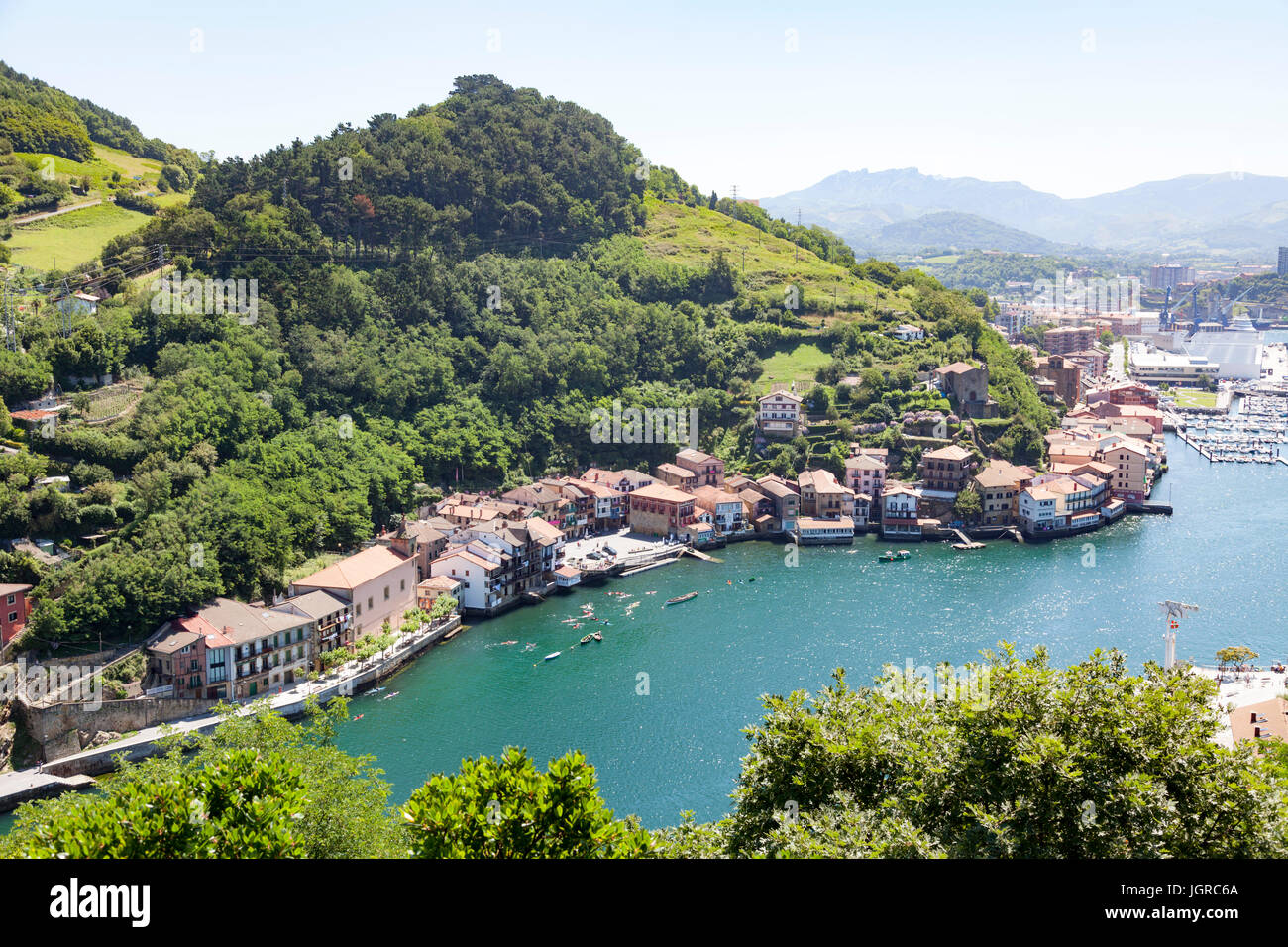 A view on Pasajes (Pasaia) from the mirador of  Pasaia San Pedro (Guipuzkoa - Spain). The best low-angle shot on - Stock Image