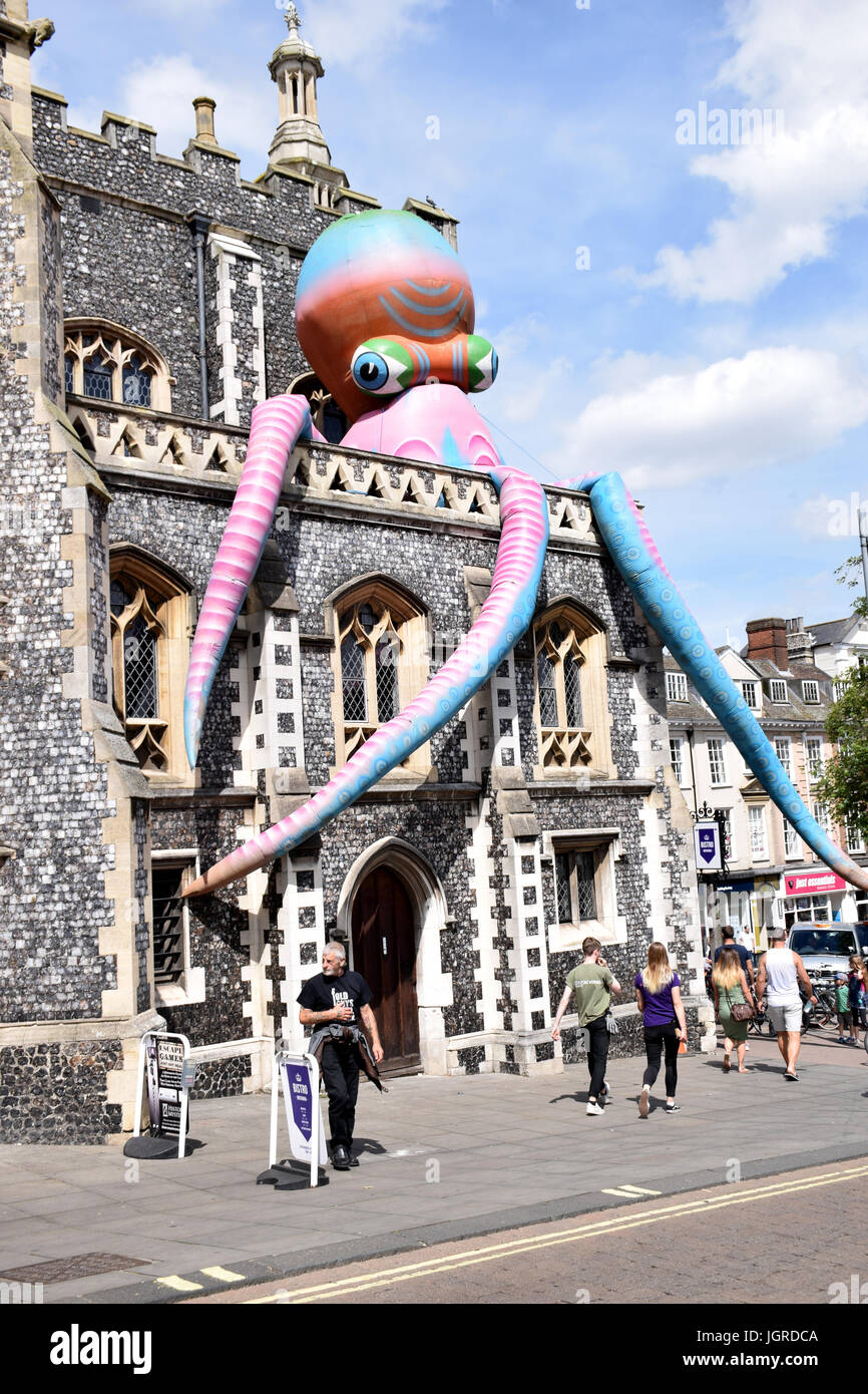 Giant inflatable octopus on The Guildhall as part of the Mayor's celebration weekend, Norwich UK July 2017 - Stock Image
