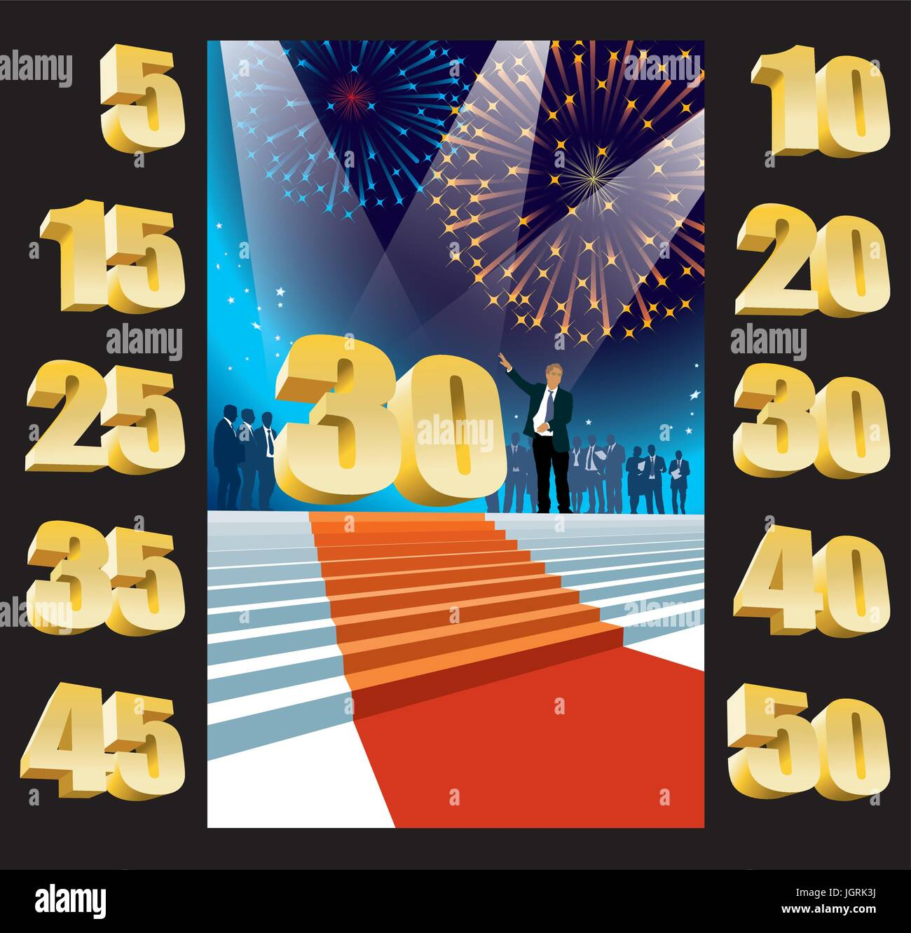 Crowd of businesspeople celebrating thirtieth anniversary, fireworks in the background. - Stock Vector