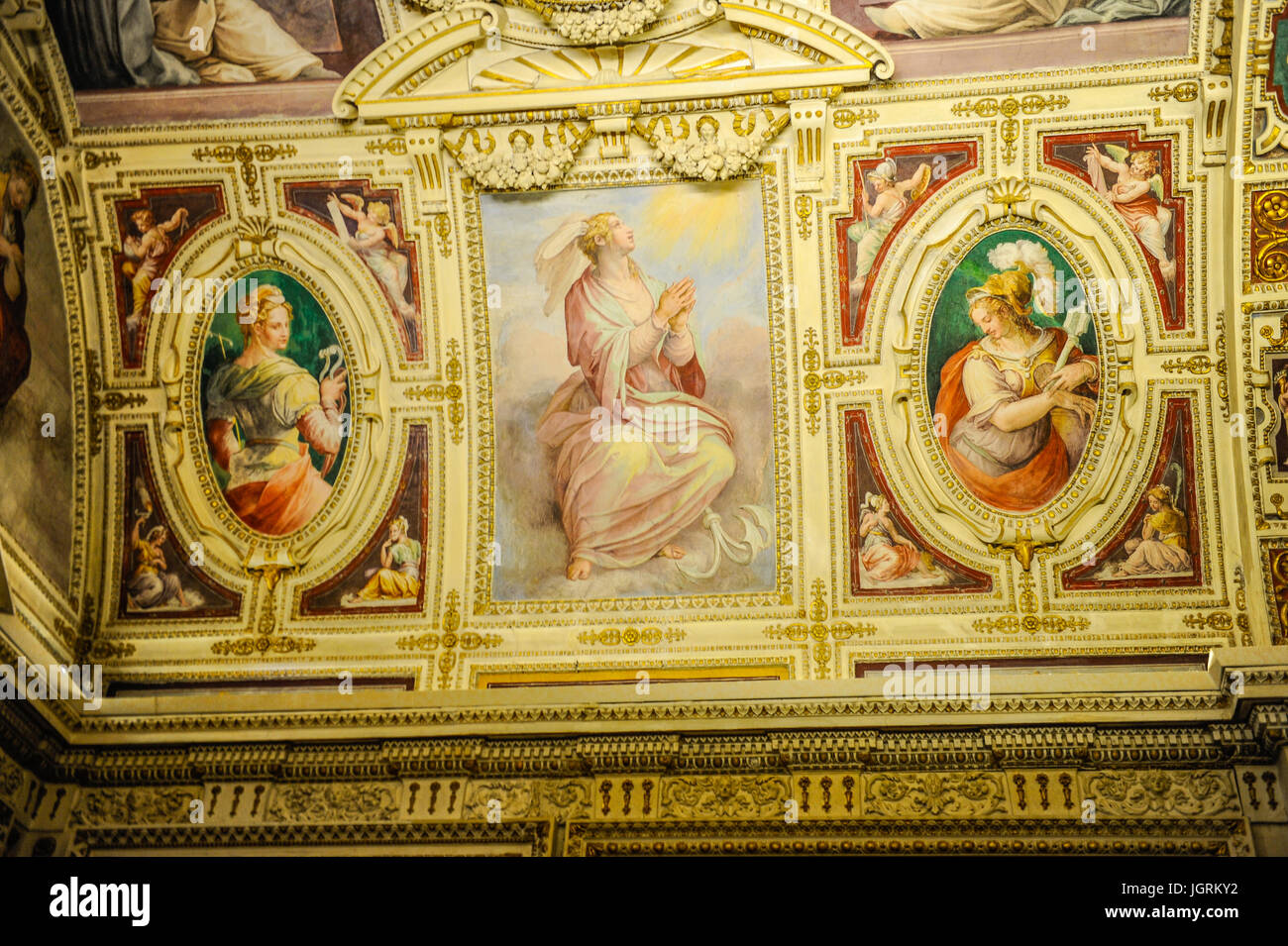 The decorative ceiling along the corridor of Vatican museum, Vatican City, Rome, Italy - Stock Image