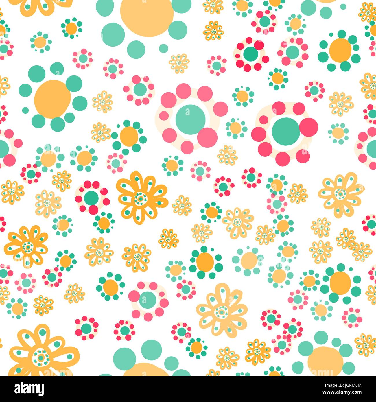 Hippie wallpaper with funny stylized colorful flowers on white background, childish naive style.