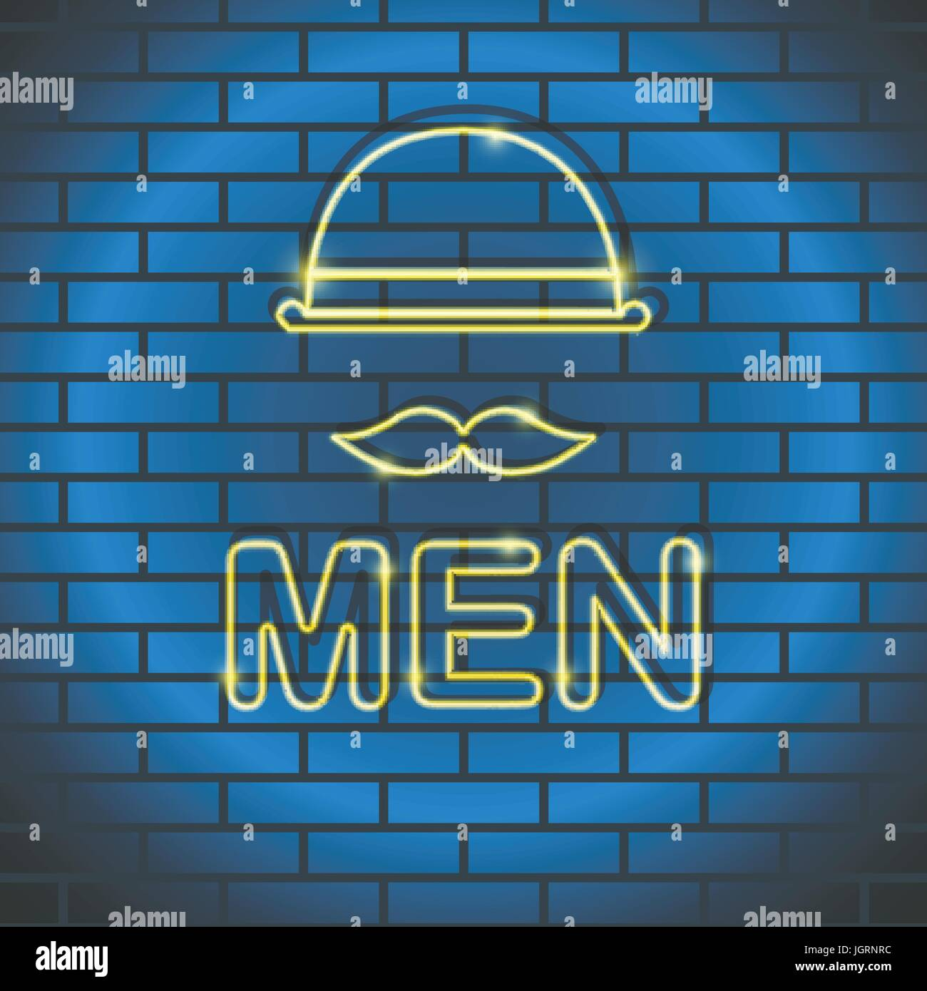 Neon icon Vector illustration Neon lamp yellow color in the form of a man with a mustache, a bowler hat on a brick - Stock Image