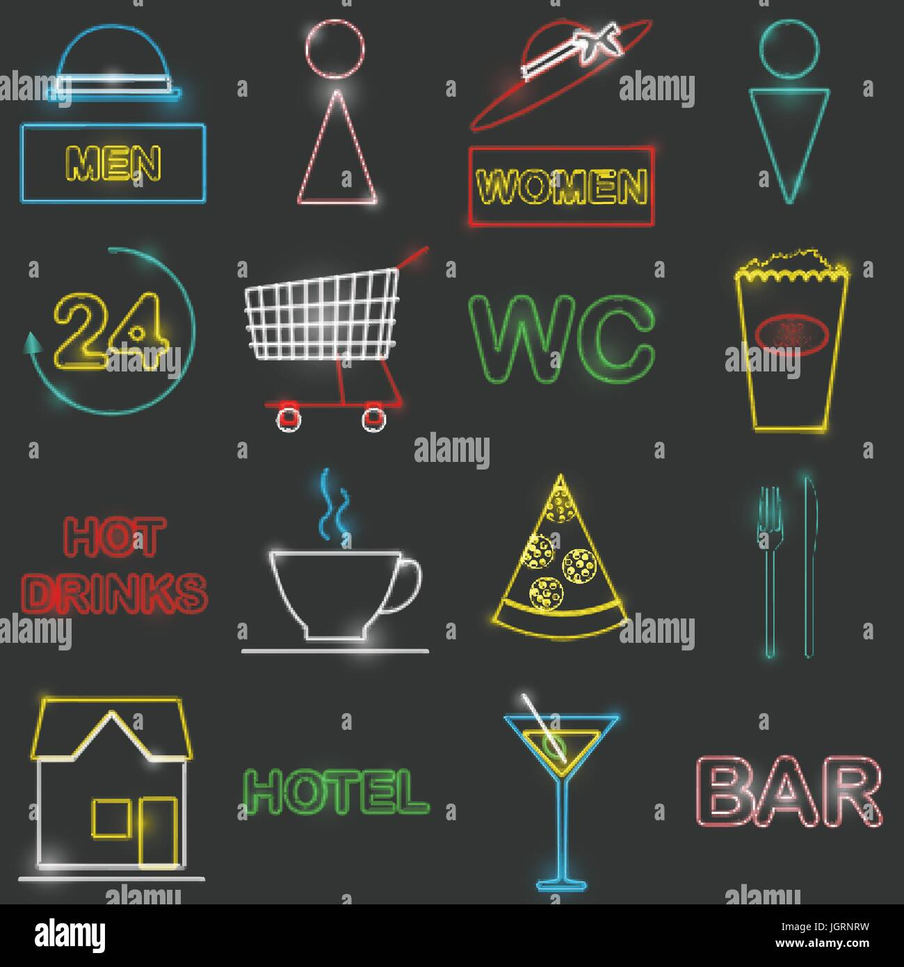 Neon icon set Vector illustration Colorful icons in form of neon