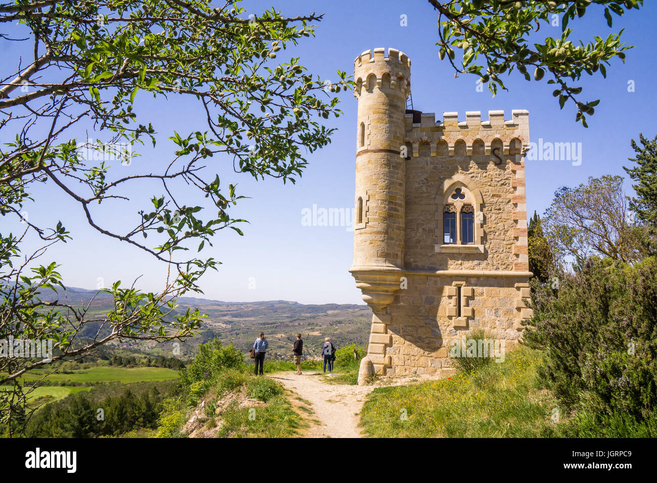 The French hilltop village Rennes-le-Chateau The church and its priest, Berenger Saunier, were featured in Dan Brown's - Stock Image