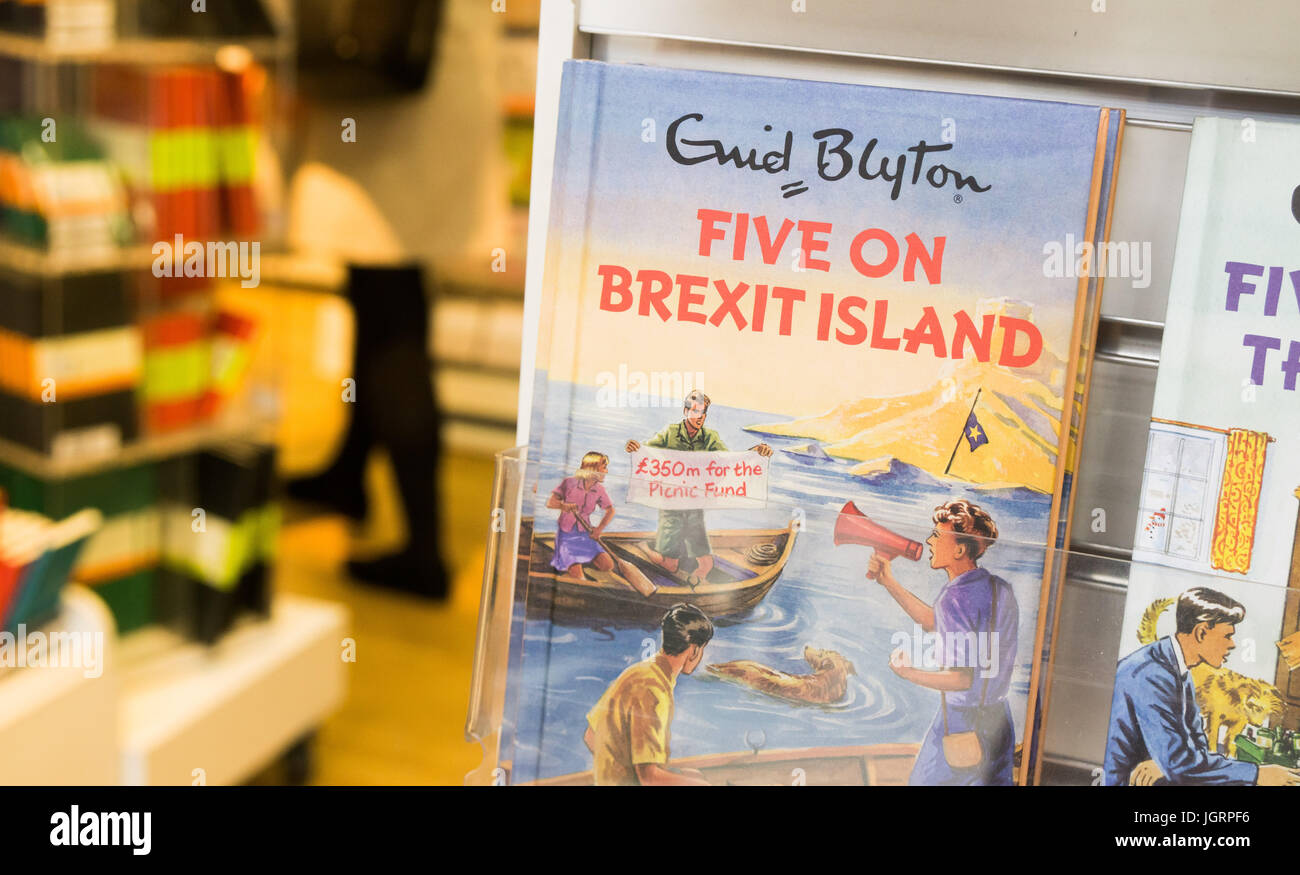 A humourous modern take on the Enid Blyton series of books: 'Five on Brexit Island' - Stock Image