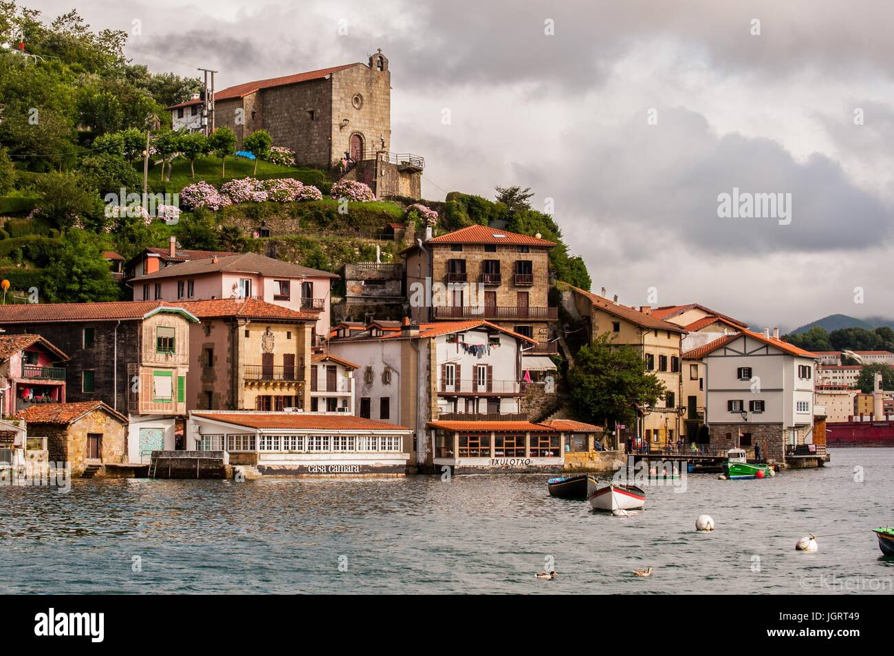 Scenic view of the fishing village of Pasajes de San Juan in northern Spain. - Stock Image