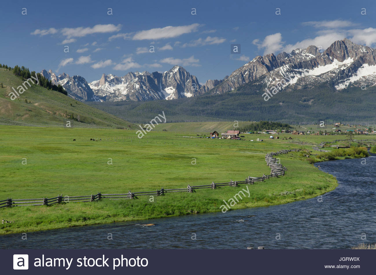 Sawtooth Mountains and Salmon River idaho from Stanley Basin - Stock Image