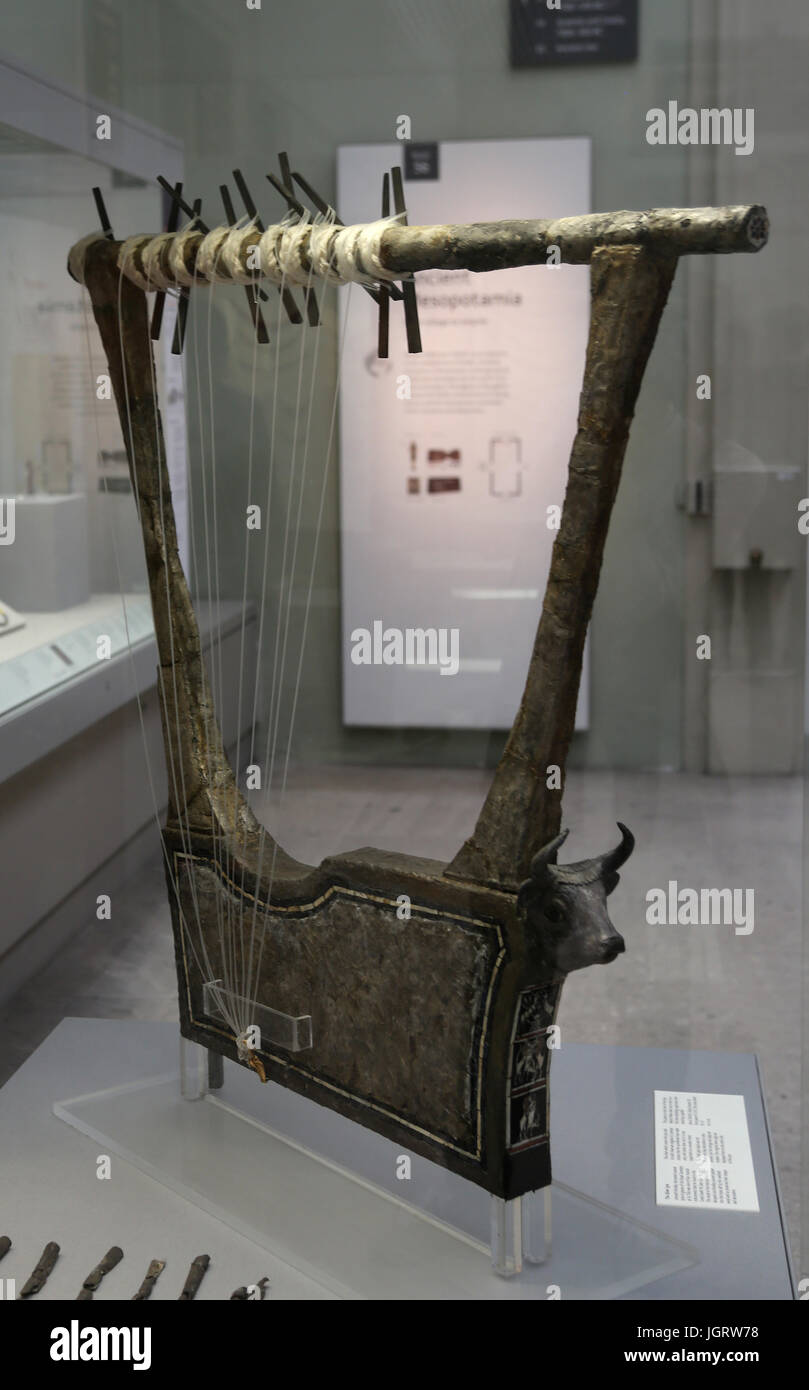 Silver lyre. Early Dynastic III. 2600 BC. Iraq, Royal Cementery, Ur. Iraq. - Stock Image