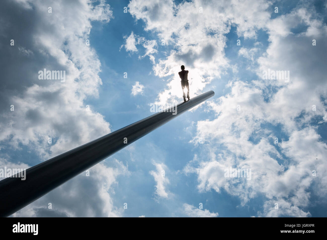 Documenta 14 in Kassel:  Himmelsstuermer, Man Walking to the Sky, sculpture from artist Jonathan Borofsky, from Stock Photo