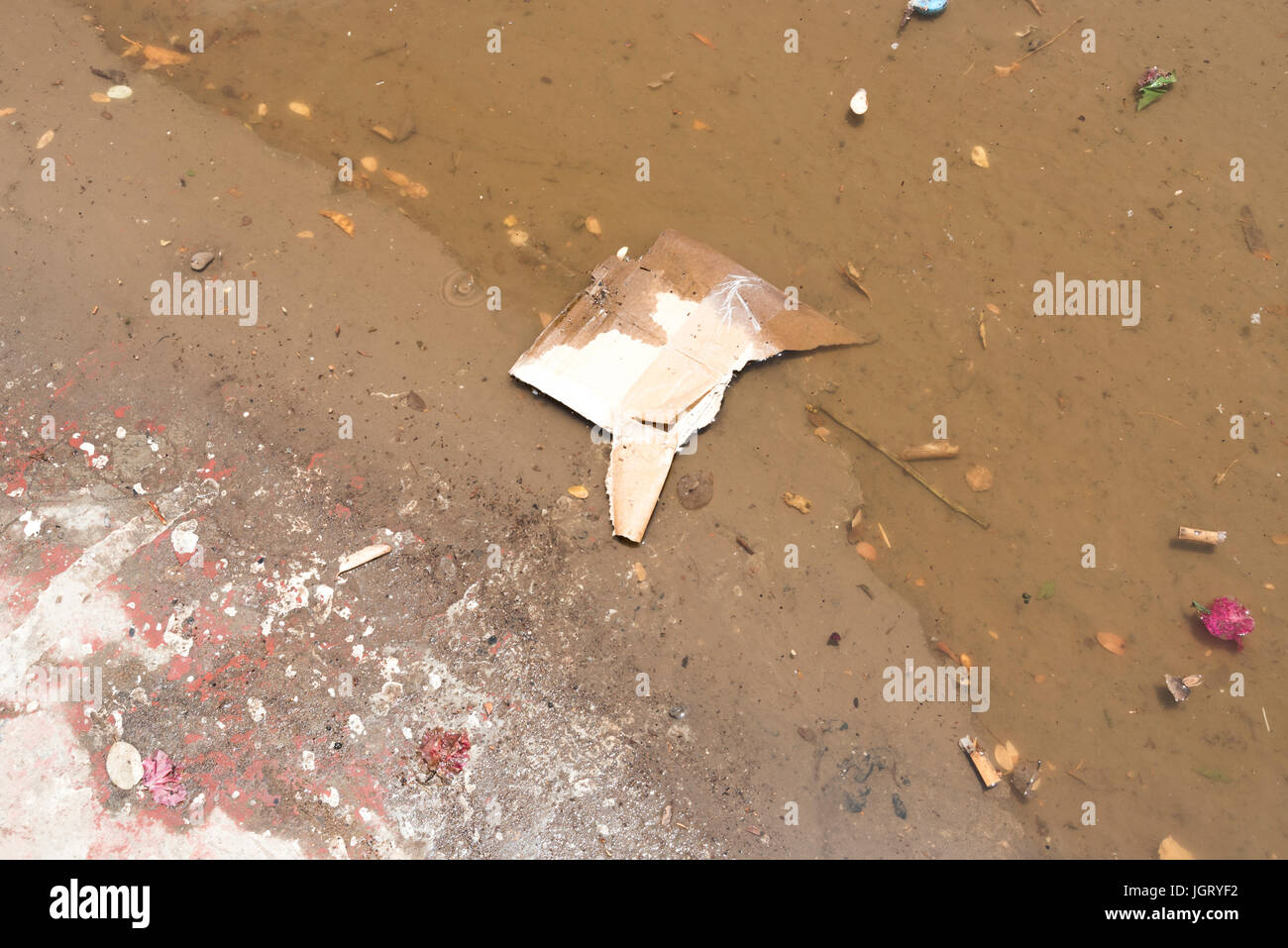 Background of Stagnant dirty rain water on roadside in Djibouti, East Africa Stock Photo