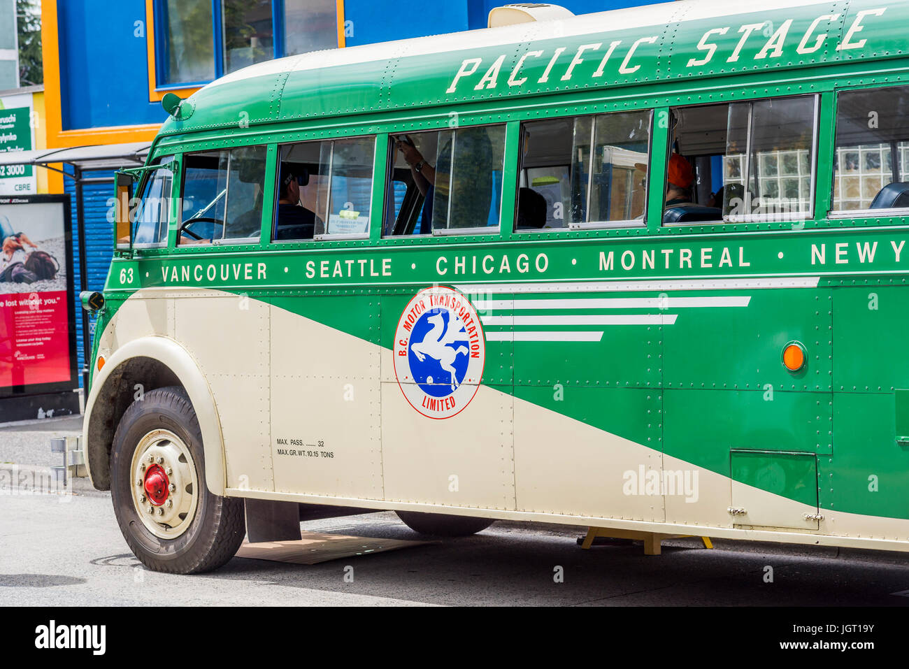 Vintage Pacific Stage Lines Hayes Tear Drop Bus, Car Free Day, Commercial Drive, Vancouver, British Columbia, Canada. - Stock Image