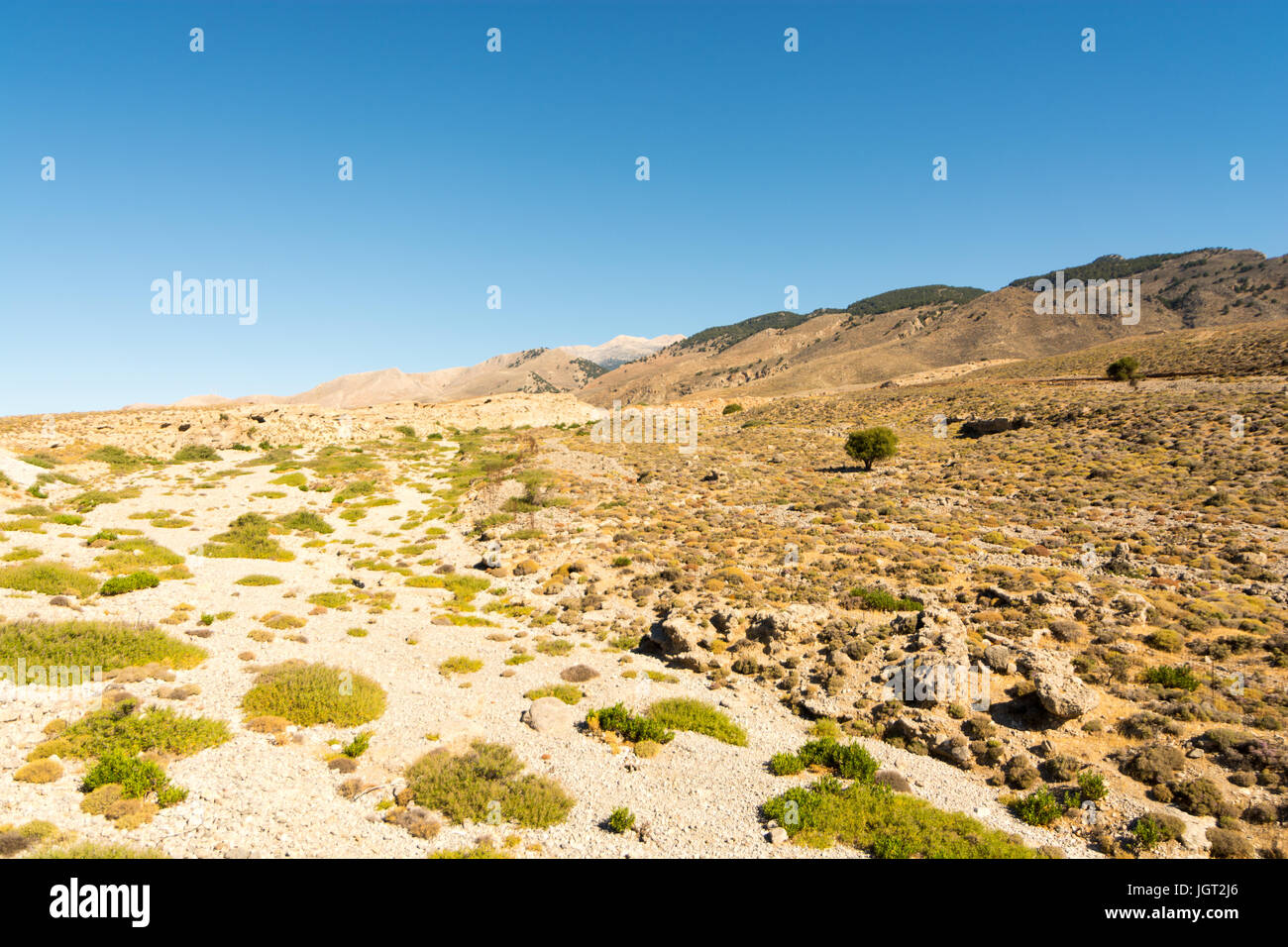 Barren scorched landscape of southern Crete, Greece with mountains rising in the distance. - Stock Image