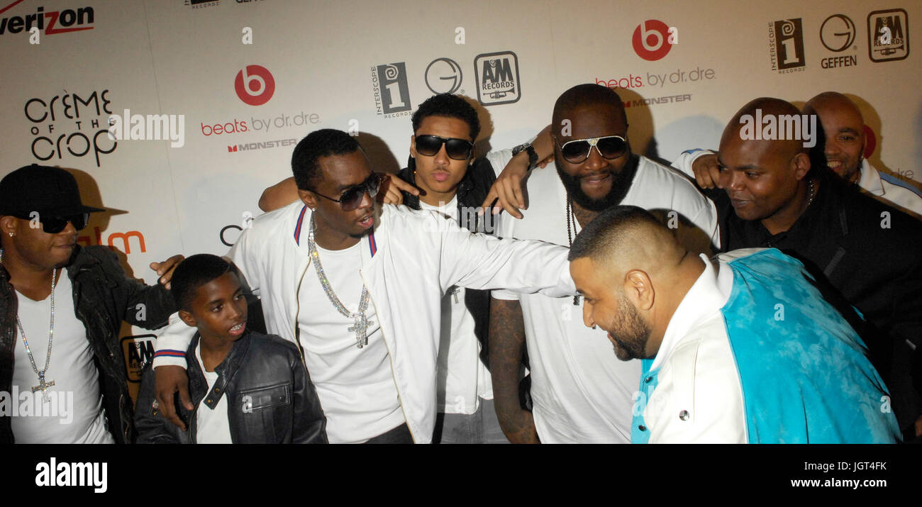 (L-R) Plies,Christian Combs,Diddy,Quincy Brown,Rick Ross DJ Khaled Interscope Geffen A&M Records Fourth Annual - Stock Image