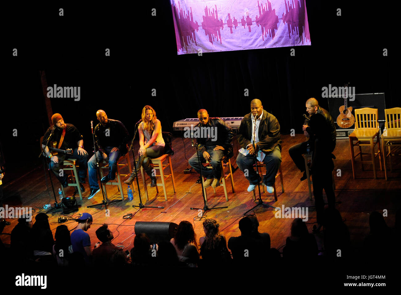 """(L-R) Zac Brown,Common,Colbie Caillat,Nas,Salaam Remi,Sebastian Krys stage BMI """"How I Wrote That Song"""" Panel House Stock Photo"""