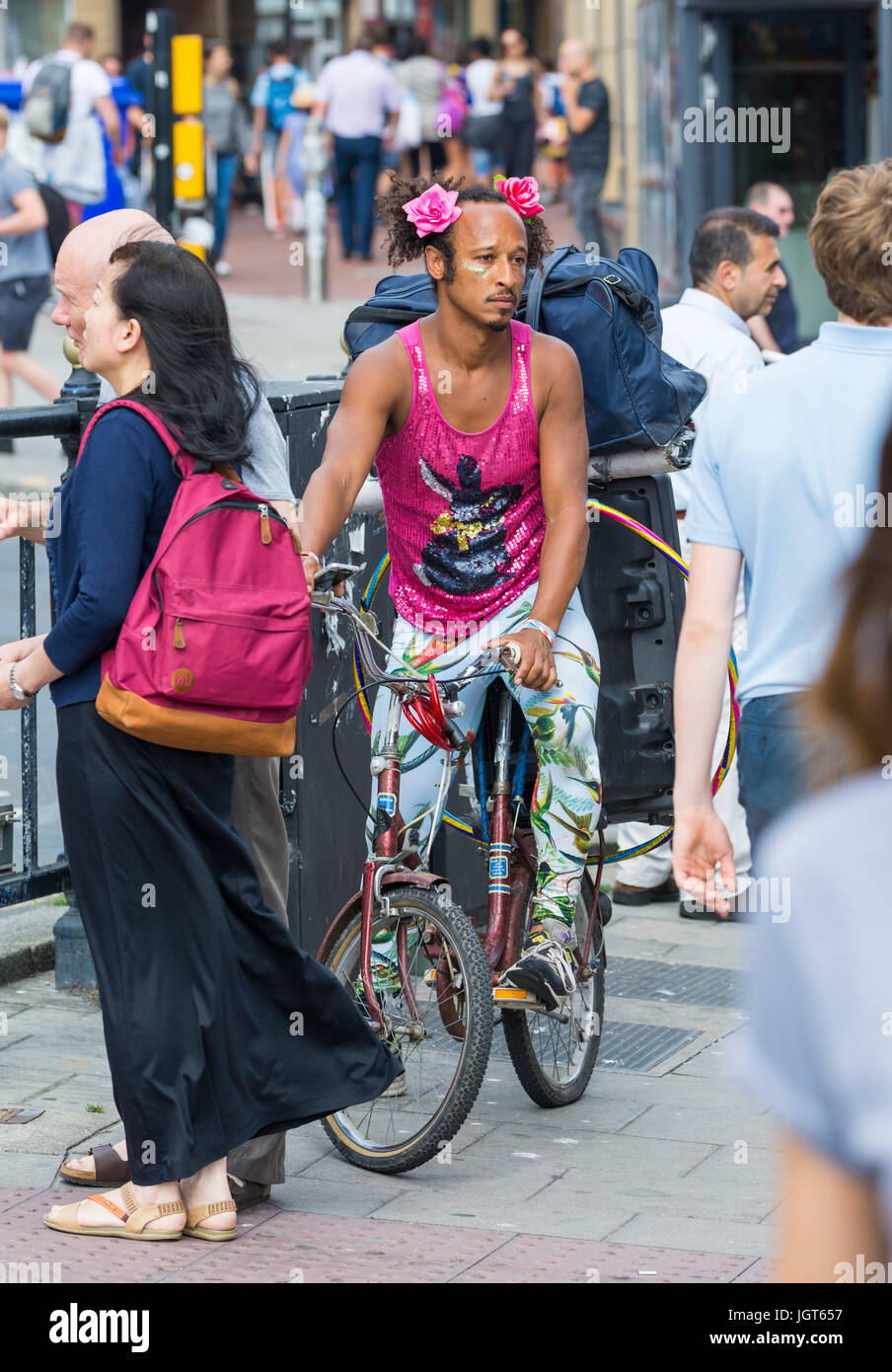 Pablo Woodward, The Disco Bunny, an entertainer on a bicycle in Brighton, East Sussex, England, UK. - Stock Image