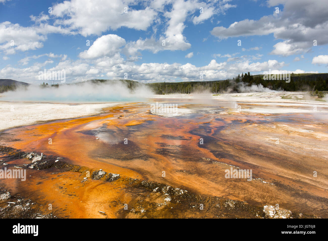 View on Rainbow Pool in Black Sand Basin, Upper Geyser Basin, Yellowstone National Park - Stock Image