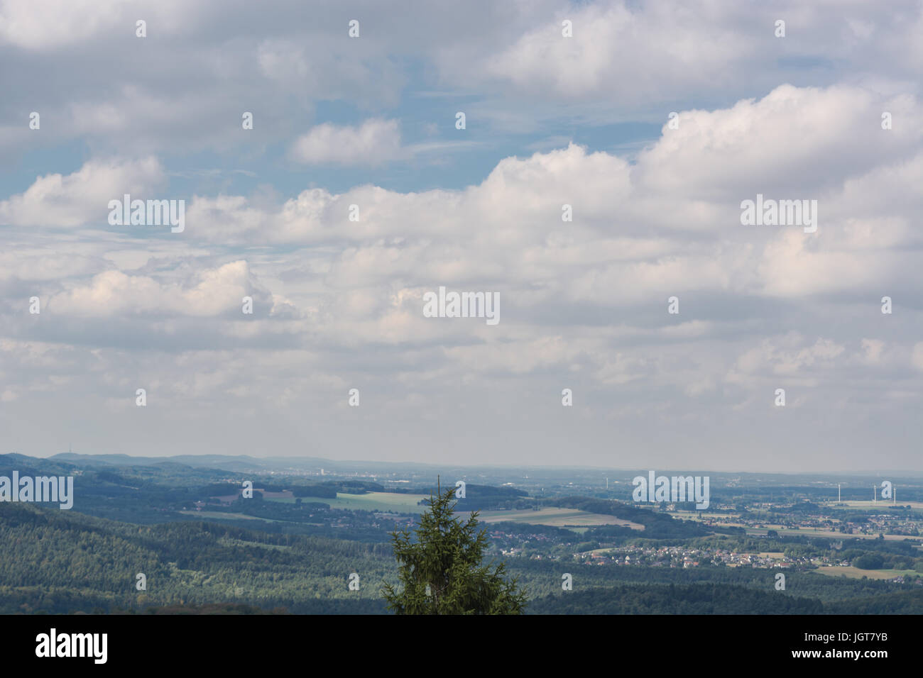 Panoramic view from Hermannsdenkmal to the Teutoburg Forest near Detmold, North Rhine-Westphalia. - Stock Image