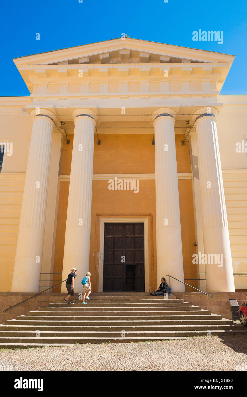 Alghero Cathedral, portico and front entrance of the Duomo in the old town quarter of Alghero, Sardinia. - Stock Image