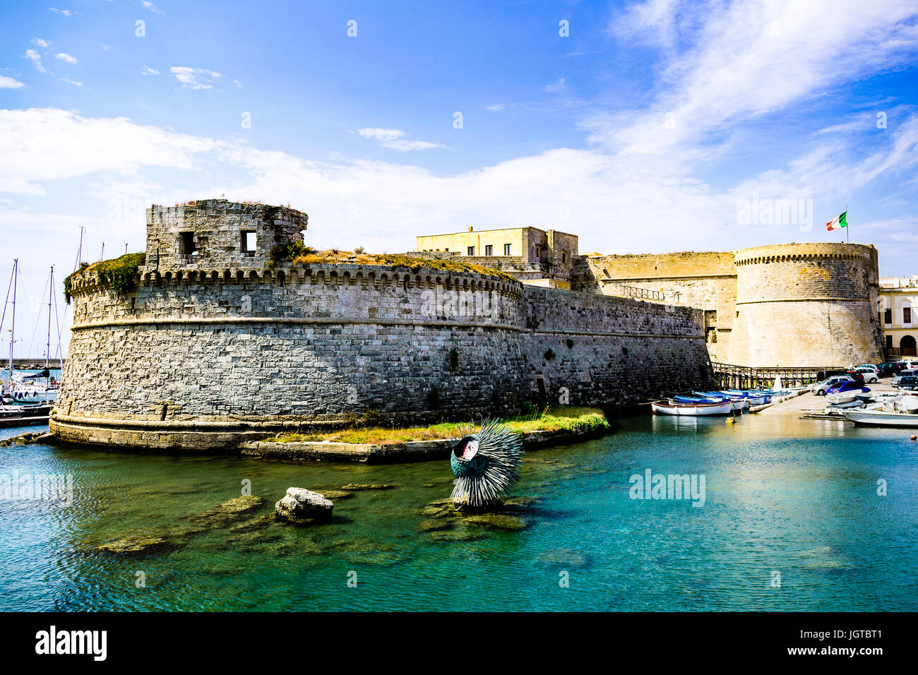 Gallipoli Castle (XI century) as seen on a beautiful summer day, view from the sidewalk. - Stock Image