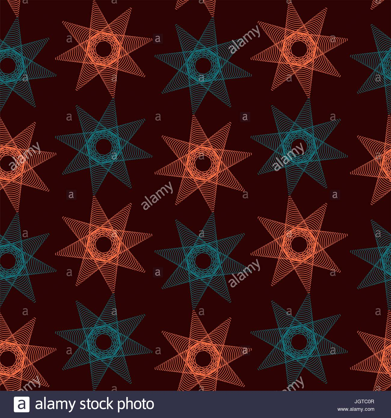 linear radiating stars seamless pattern in orange and blue shades - Stock Vector