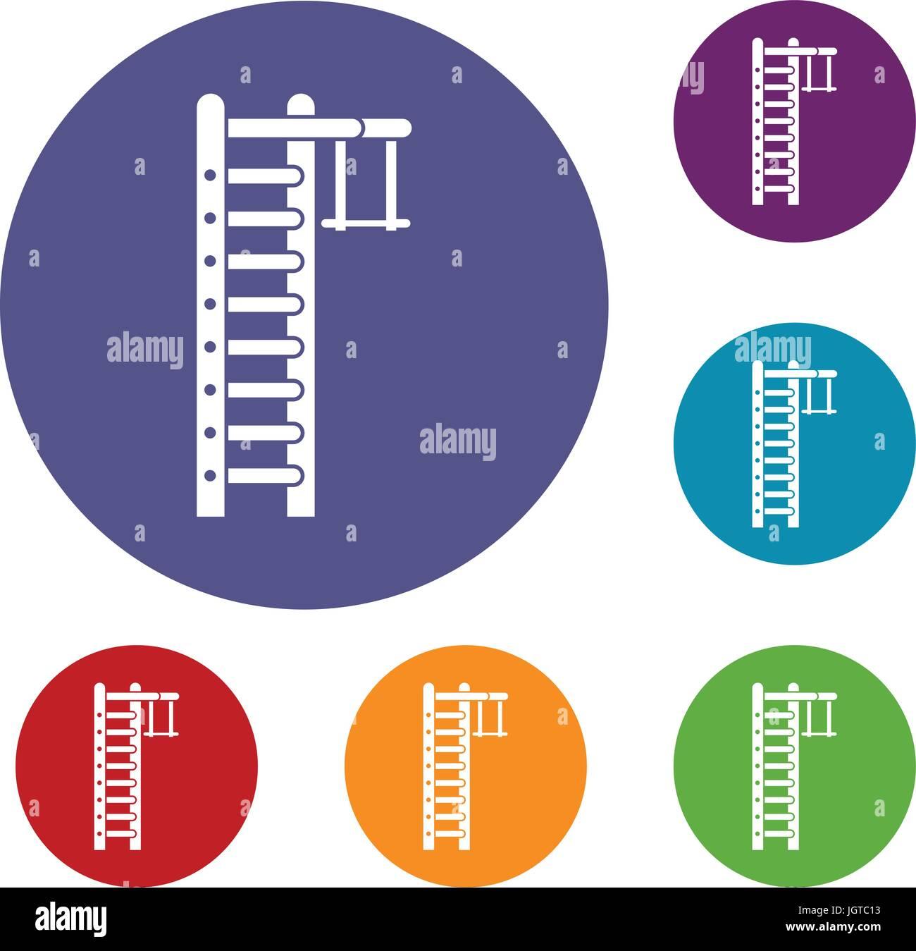 Swedish ladder icons set - Stock Image