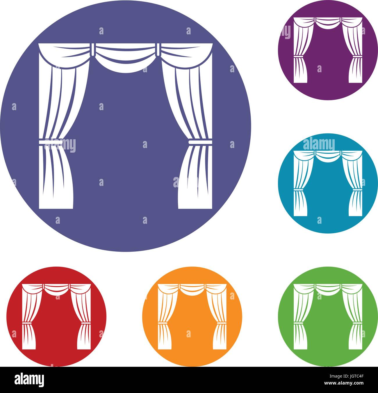 Curtain on stage icons set - Stock Vector