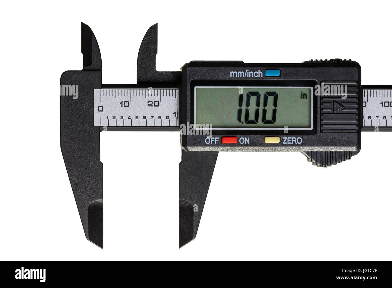 Electronic caliper open on a one inch on the scale isolated on a white background - Stock Image
