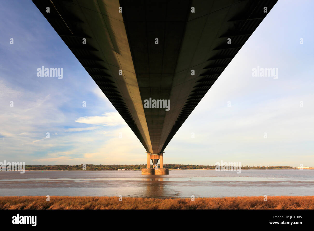 Autumn, Humber Bridge, from Barton-upon-Humber village side, East Riding of Yorkshire, England - Stock Image