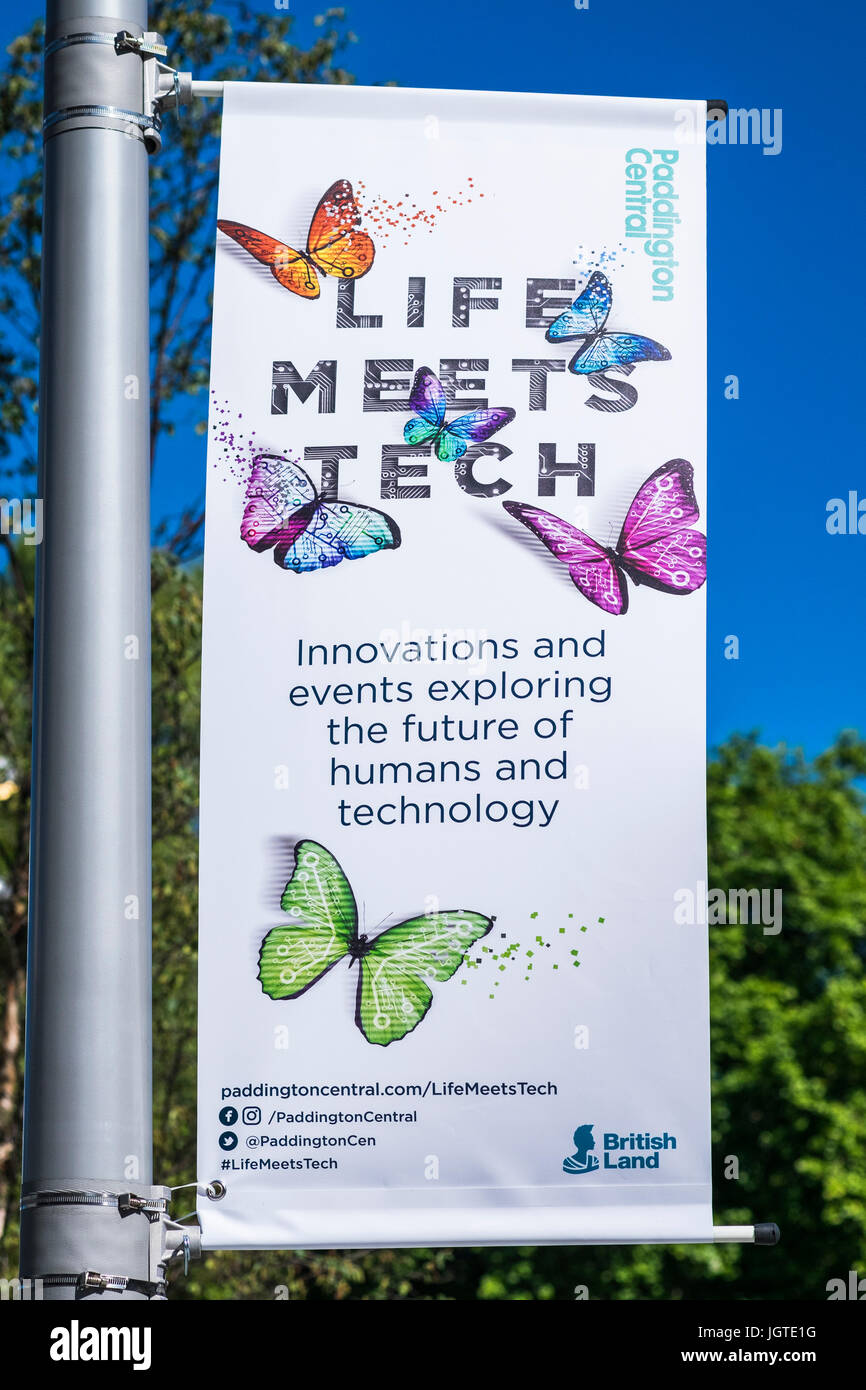 Life Meets Tech banner, Paddington Central, London, England, U.K. - Stock Image