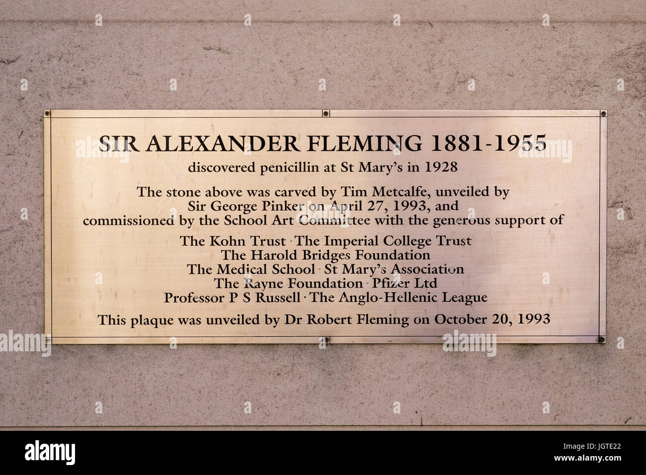 Sir Alexander Fleming discovered penicillin plaque on the wall of St.Mary's Hospital, Paddington, London, England, - Stock Image