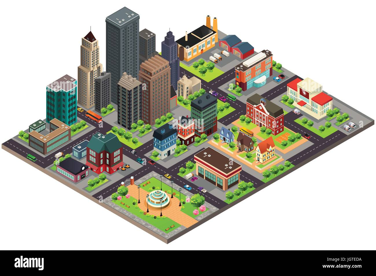 A vector illustration of Isometric Design of City Streets and Buildings Stock Vector