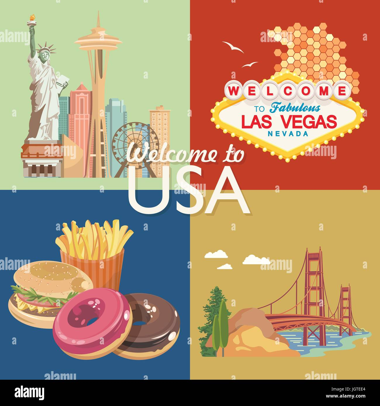 Welcome to USA. United States of America poster. Vector illustration about travel - Stock Vector