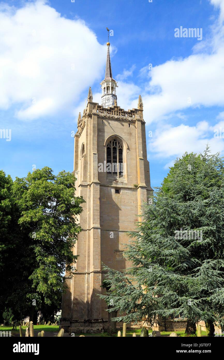 Swaffham Parish Church, west tower, graveyard, churchyard, tomb stones, Norfolk, England, UK - Stock Image