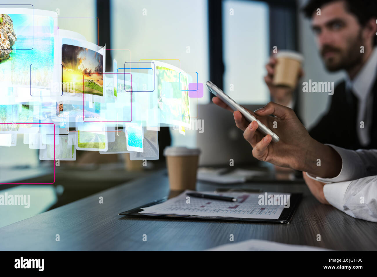 Internet streaming of mobile phone concept - Stock Image