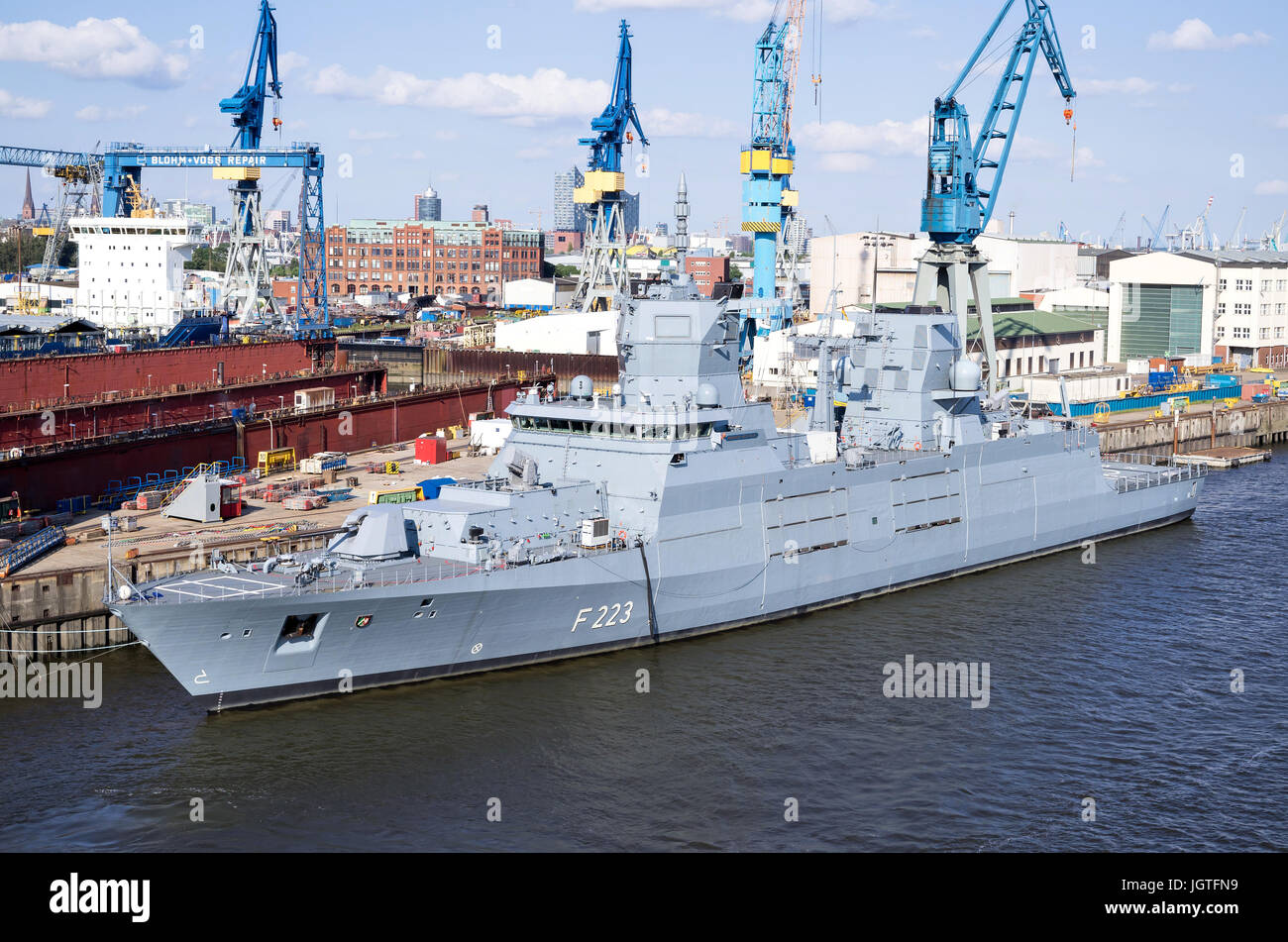 NORDRHEIN-WESTFALEN (F223) the second of four 125-class guided missile frigates for the German Navy, fitting out - Stock Image