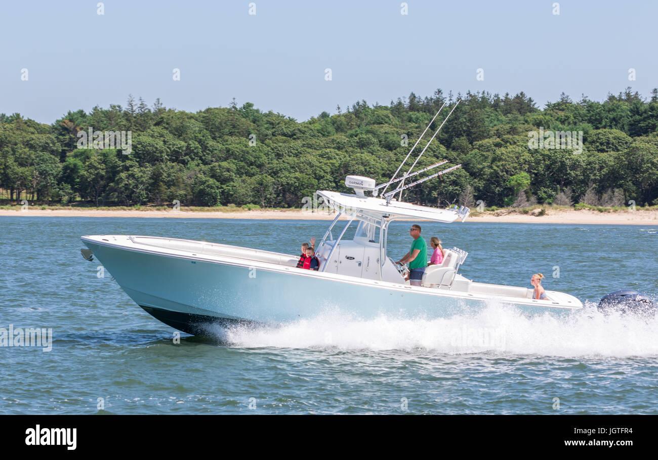 motor boats off Shelter Island NY Stock Photo