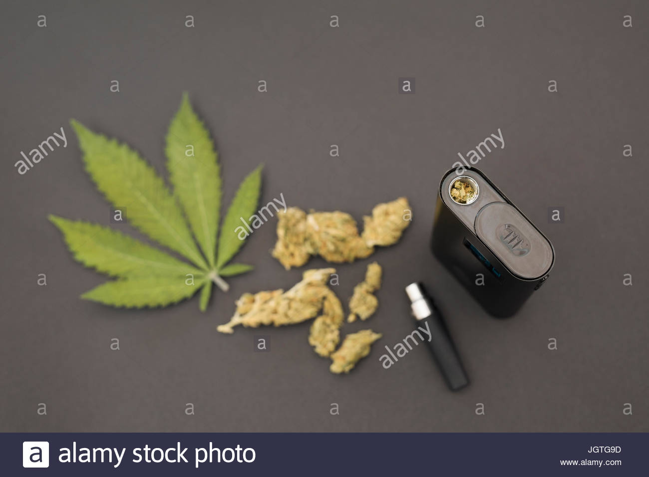 Knolling of marijuana leaves, buds and vaporizer - Stock Image