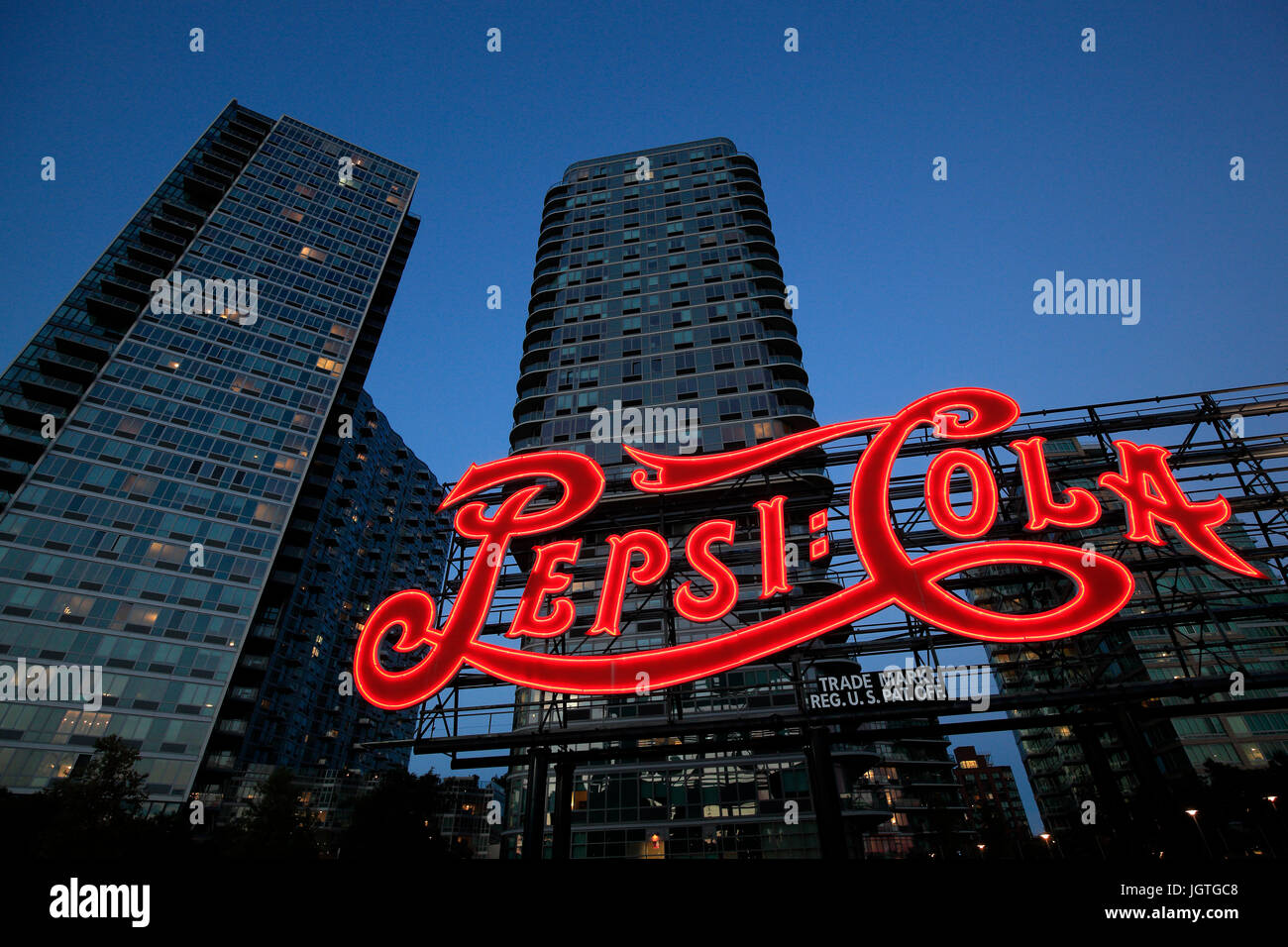 Pepsi neon sign in Long Island City New York - Stock Image