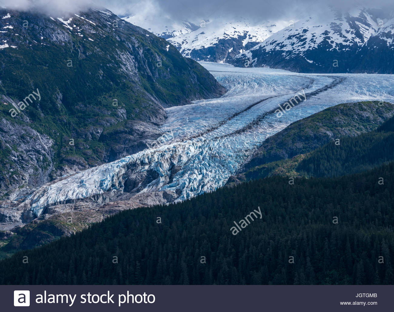 Aerial view of Juneau's Mendenhall Glacier. - Stock Image
