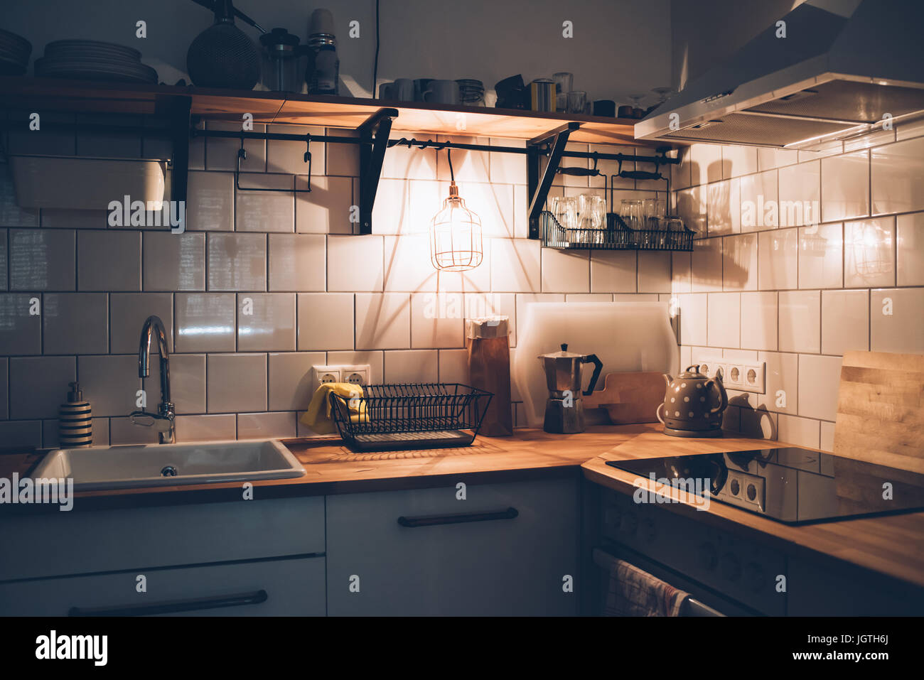 Vintage White Kitchen Interior Cooking Objects With Warm Light