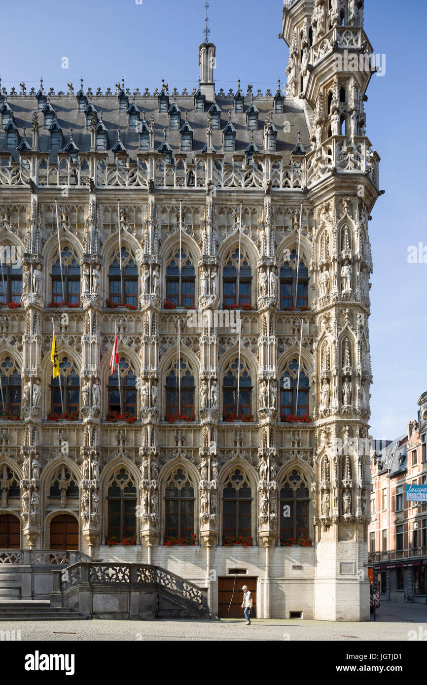 Leuven Town Hall (Stadhuis), Belgium, an ornate 15th-century medieval building with extensive sculpture and pinnacles. Stock Photo