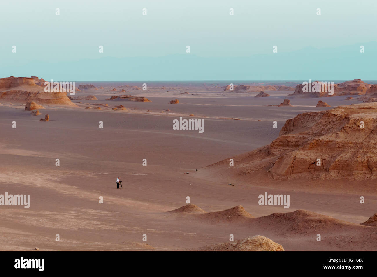 Kaluts in Lut desert in Iran also known as dashte lut , Kerman - Stock Image