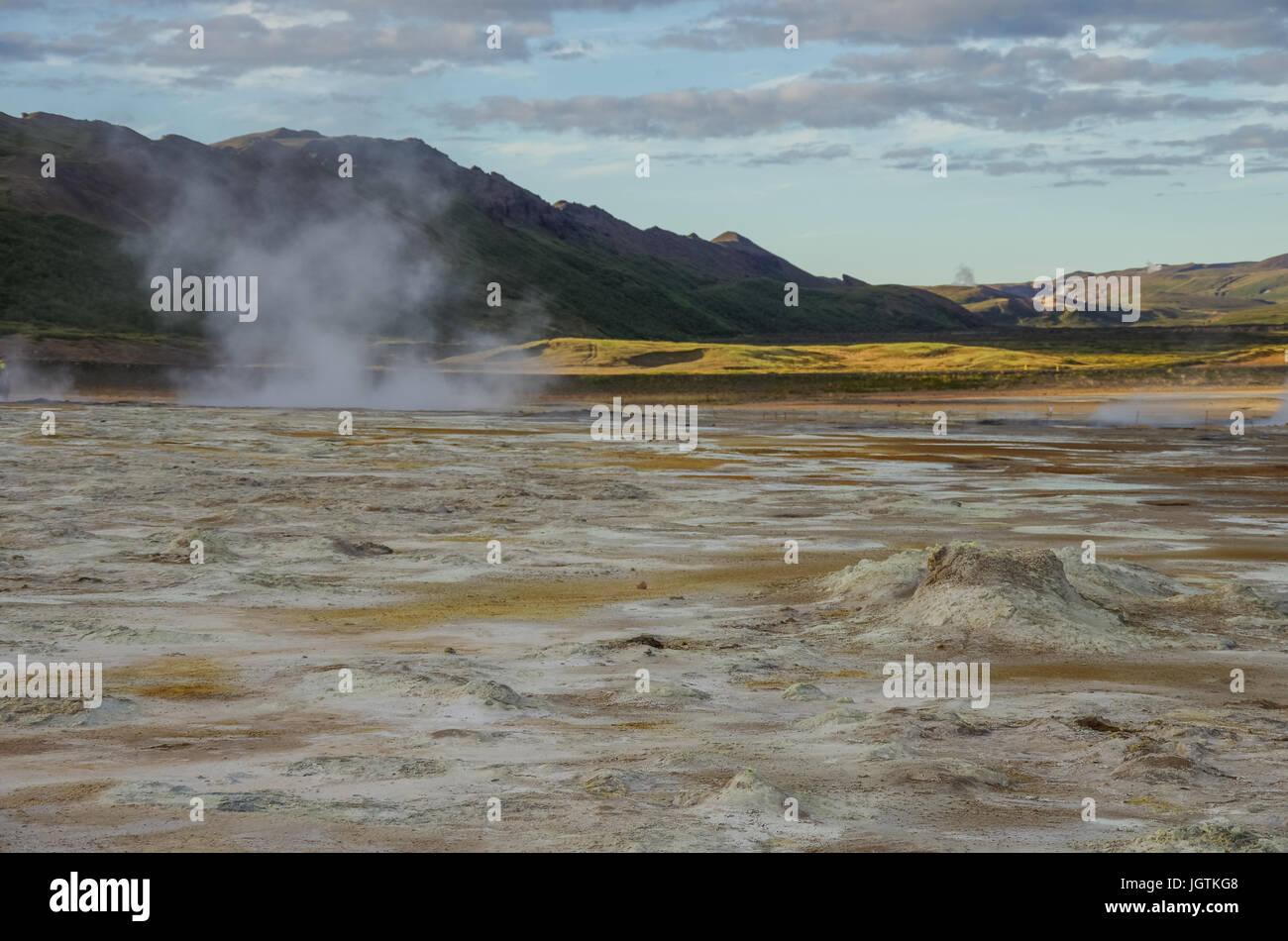 Hverarond geothermal field in Iceland. This is a field in Krafla caldera area near Mvatmn Lake which is full of - Stock Image