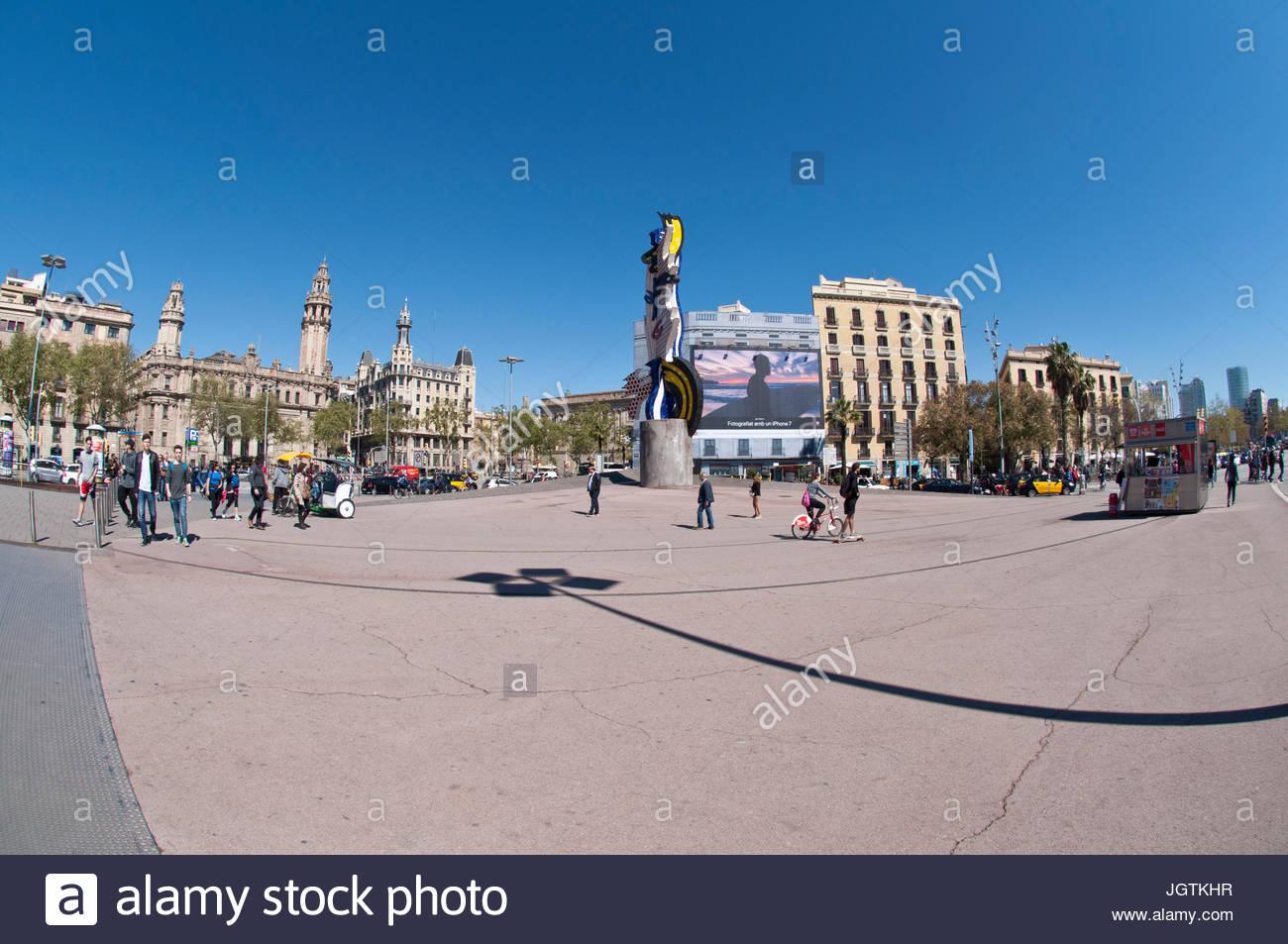 Barcelona's Head, Roy Lichtenstein sculpture, Barcelona, Spain - Stock Image