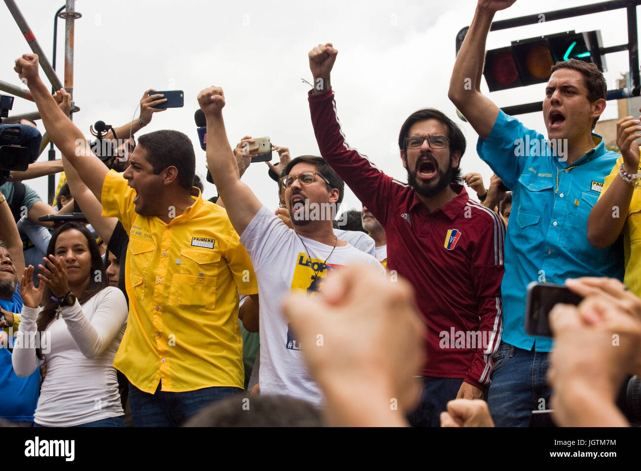 Members of the National Assembly of Venezuela together during a protest against the government of Nicolás Maduro. Stock Photo