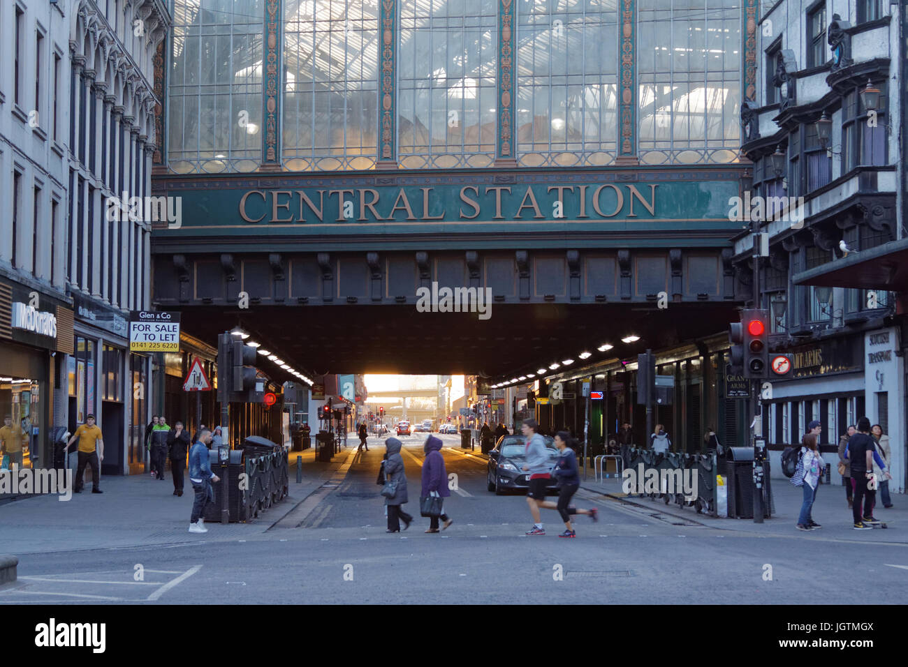 Hielanman's highlander's  Umbrella railway bridge of Glasgow Central station, Argyle Street most polluted - Stock Image
