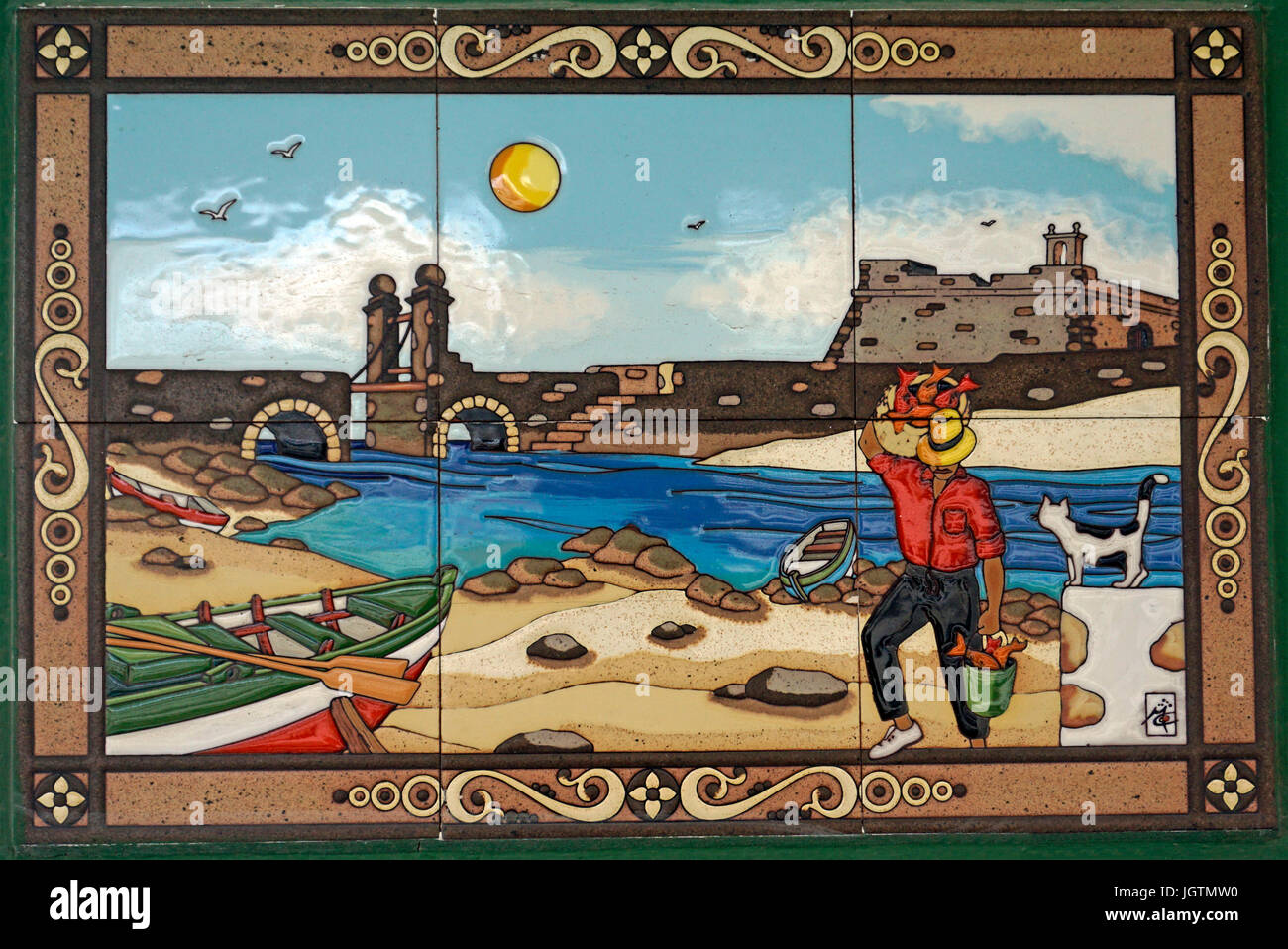 Tile picture shows a fisherman at Arrecife, Lanzarote island, Canary islands, Spain, Europe - Stock Image