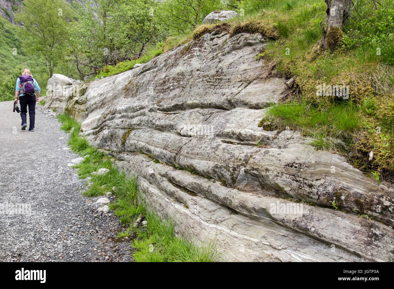 Tourist on trail path by horizontal scratch lines gauged in rock by glacial action in Briksdalen or Briks valley. - Stock Image