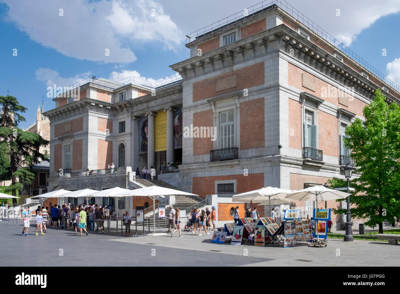 Tourists outside the Prado Museum building entrance, Madrid, Spain - Stock Image